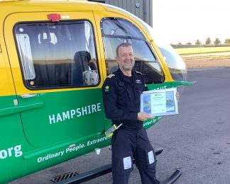 Certificate of Appreciation awarded to Pilot Dave Nicholls