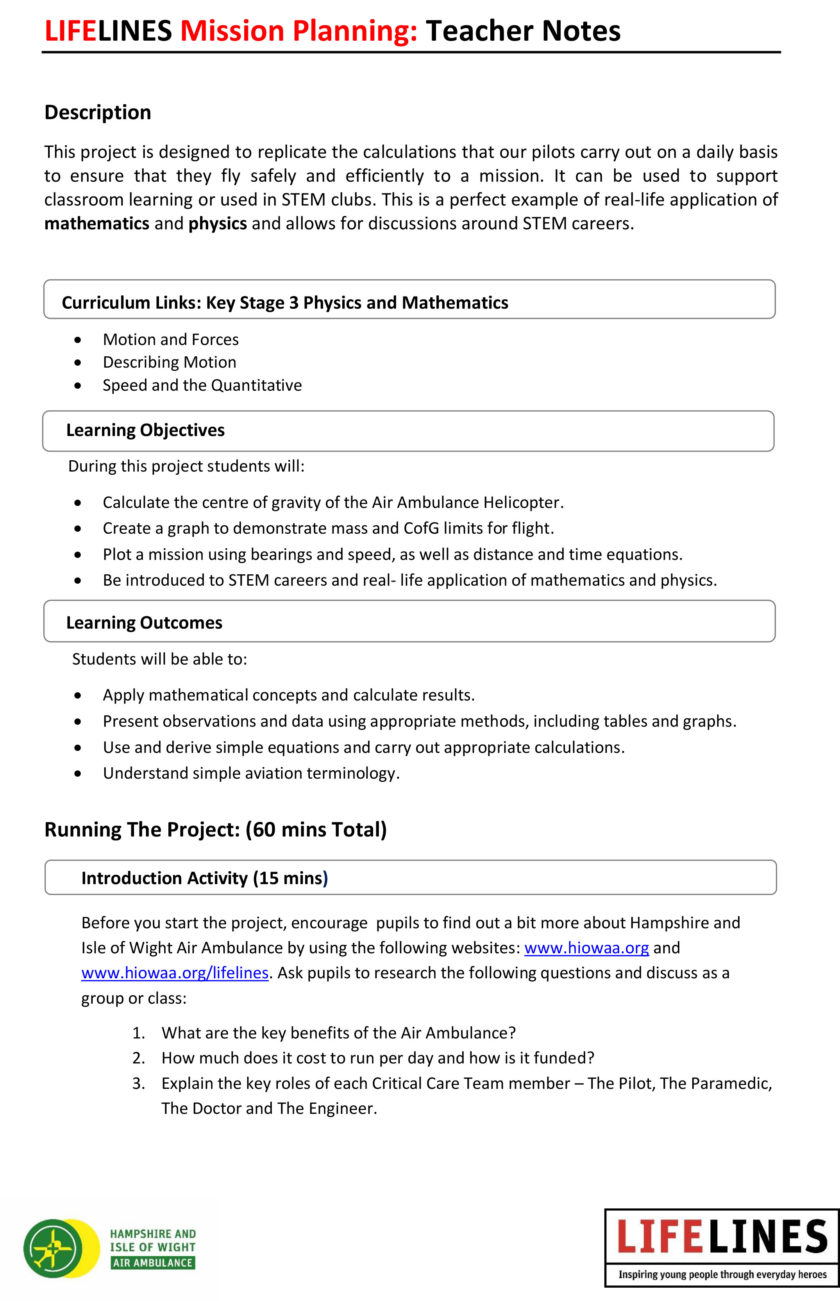 Mission Planning – Teachers notes